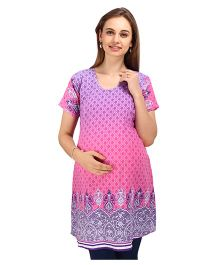 MomToBe Half Sleeves Maternity Nursing Kurti - Pink Purple