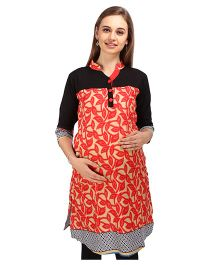 MomToBe 3/4th Sleeves Maternity Nursing Kurti - Red