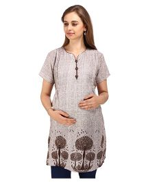 MomToBe Short Sleeves Maternity Nursing Kurti - Brown