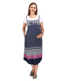 MomToBe Short Sleeves Maternity Dress Polka Print - Blue