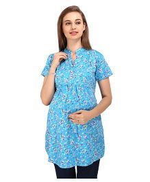MomToBe Short Sleeves Multiprint Maternity Kurti - Blue