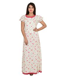 9teenAGAIN Full Sleeves Nursing Nighty Floral Print - White