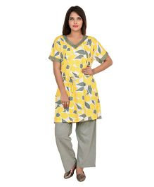 9teenAGAIN Half Sleeves Nursing Night Suit - Yellow