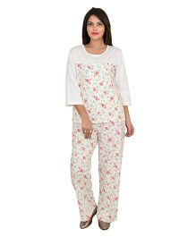 9teenAGAIN Half Sleeves Nursing Night Suit Floral Print - White
