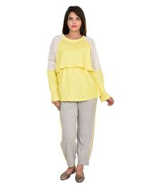 9teenAGAIN Full Sleeves Nursing Night Suit - Yellow Grey