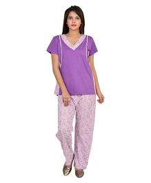 9teenAGAIN Half Sleeves Nursing Night Suit - Mauve