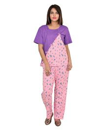 9teenAGAIN Half Sleeves Watermelon Print Nursing Night Suit - Baby Pink & Violet