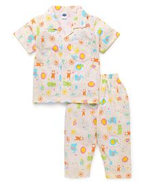 Teddy Half Sleeves Night Suit Allover Print - Off White