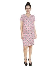 Blush 9 Knee Length Printed Maternity Dress - White & Pink