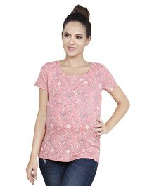 Blush 9 Nursing Overlapping T-Shirt - Peach Pink