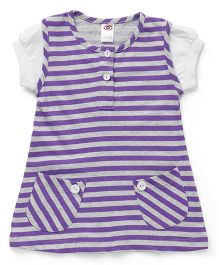 Zero Short Sleeves Striped Frock With Pocket - Purple & Grey
