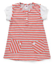 Zero Short Sleeves Striped Frock With Pocket - Coral & Grey