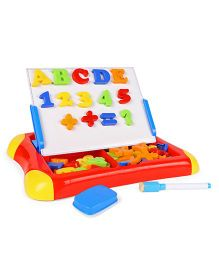 Mitashi Skykidz Magnetic Art Learn Easel Letters & Numbers Writing Board - Red Yellow