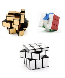 Emob Rubik Cube Puzzle Brainstorming Game Pack Of 3 - Gold Silver Multicolor