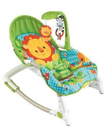 Flyers Bay Fiddle Diddle Bouncer Cum Rocker With Lion Print - Yellow Green