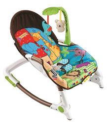 Flyers Bay Fiddle Diddle Bouncer Cum Rocker With Zebra Print - Multi Color