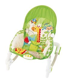 Flyers Bay Fiddle Diddle Bouncer Cum Rocker With Zebra & Lion Print - Green