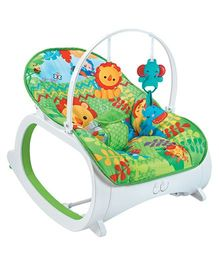 Flyers Bay Fiddle Diddle Bouncer Cum Rocker With Lion Print - Green