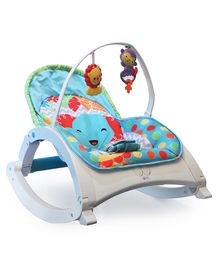 Flyers Bay Fiddle Diddle Bouncer Cum Rocker With Elephant Print - Blue