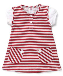 Zero Short Sleeves Striped Frock With Pocket - Maroon & Grey
