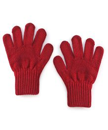 Model Solid Color Hand Gloves - Maroon