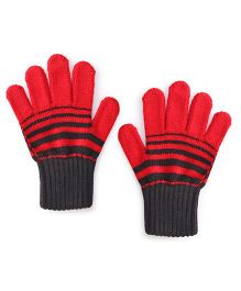 Model Woollen Striped Dual Shade Hand Gloves - Red Black