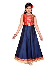 Adiva Sleeveless Party Wear Gown Floral Applique - Navy