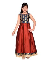 Adiva Sleeveless Party Wear Gown Floral Applique - Maroon