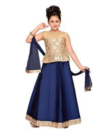 Adiva Sleeveless Choli Ghagra & Dupatta - Navy Blue & Golden