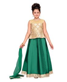 Adiva Sleeveless Choli Ghagra & Dupatta - Green & Golden