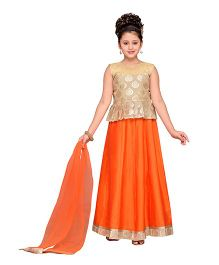 Adiva Sleeveless Choli Ghagra & Dupatta - Orange & Golden