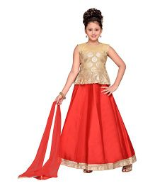 Adiva Sleeveless Choli Ghagra & Dupatta - Red & Golden