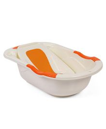 Babyhug Bath Tub With Bath Tray Bunny & Bear Print - Off White Orange