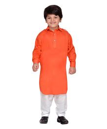 AJ Dezines Full Sleeves Pathani Kurta And Pajama Set - Orange White