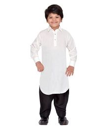 AJ Dezines Full Sleeves Pathani Kurta And Pajama Set - White Black