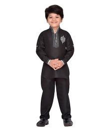 AJ Dezines Full Sleeves Printed Pathani Kurta And Pajama Set - Black