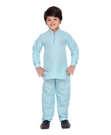 AJ Dezines Full Sleeves Printed Pathani Kurta And Pajama Set - Light Blue