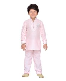 AJ Dezines Full Sleeves Printed Pathani Kurta And Pajama Set - Light Pink