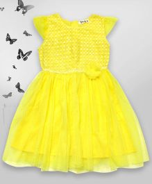 Bella Moda Sequin Bodice Dress With Flower Applique - Yellow