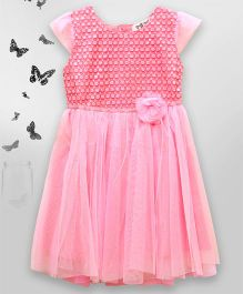 Bella Moda Sequin Bodice Dress With Flower Applique - Pink