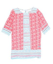 Pepe Jeans Full Sleeves Tunic Top Aztec Print - Pink Blue