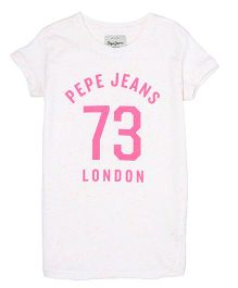 Pepe Jeans Half Sleeves Printed Top - White