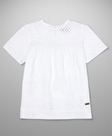 Pepe Jeans Half Sleeves Schiffly Embroidered Top - White