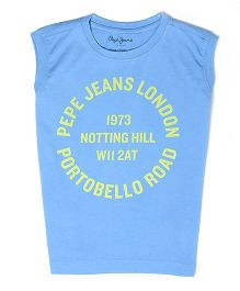 Pepe Jeans Sleeveless T-Shirt Text Print - Blue