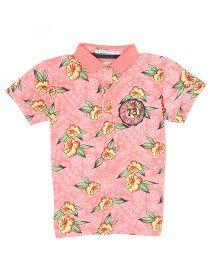 Pepe Jeans Half Sleeves Polo T-Shirt Floral Print - Peach
