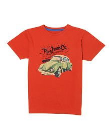Pepe Jeans Half Sleeves T-Shirt Car Print - Orange