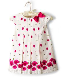 Nitallys Pleated Floral Dress With A Bow - White & Pink