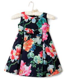 Nitallys Floral High Low Dress With A Flower - Blue