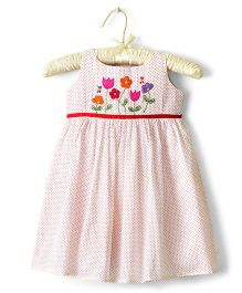 Nitallys Polka Dot Print With Floral Embroidery - White & Red