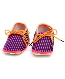 Soft Tots Striped Booties - Purple & Orange